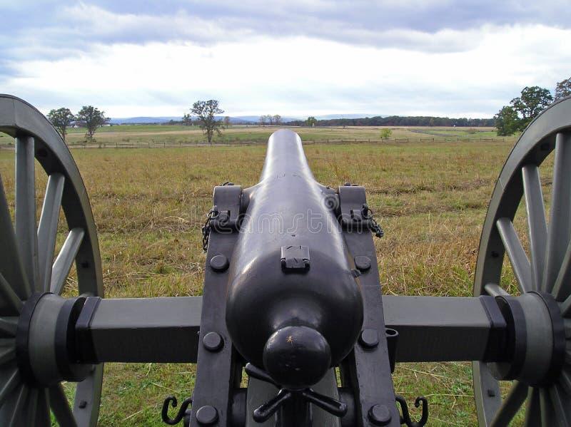 Vista de um canhão de Gettysburg fotos de stock