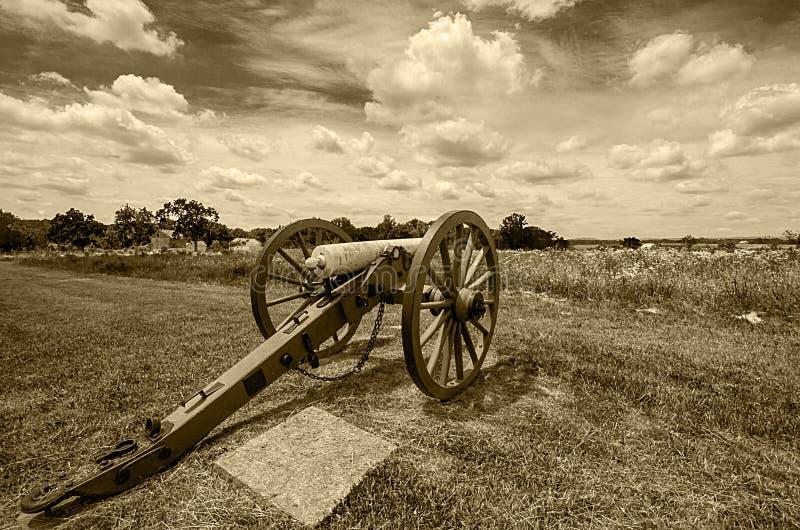 Vista de um canhão de Gettysburg imagem de stock