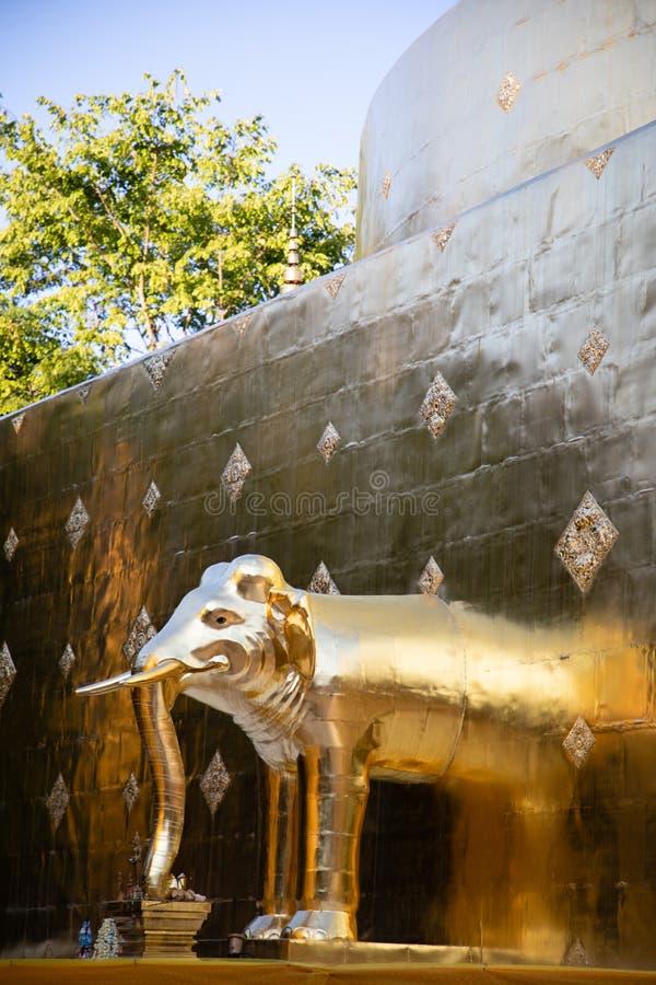 Vista de um pagode dourado com uma escultura do elefante em Banguecoque com as folhas verdes como o fundo imagem de stock