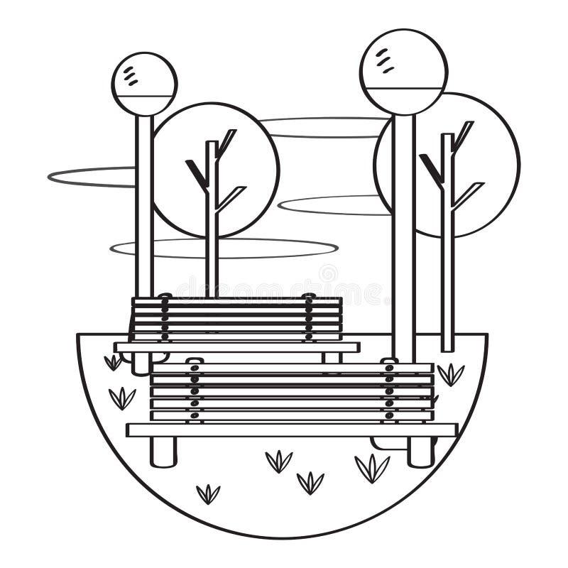 Vista de um parque público com bancos e lâmpadas ilustração do vetor