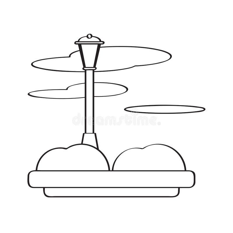 Vista de um parque público com uma lâmpada ilustração royalty free