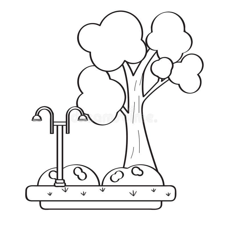 Vista de um parque público com uma lâmpada ilustração do vetor