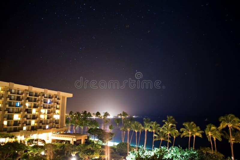 Vista de um recurso de Havaí fotografia de stock
