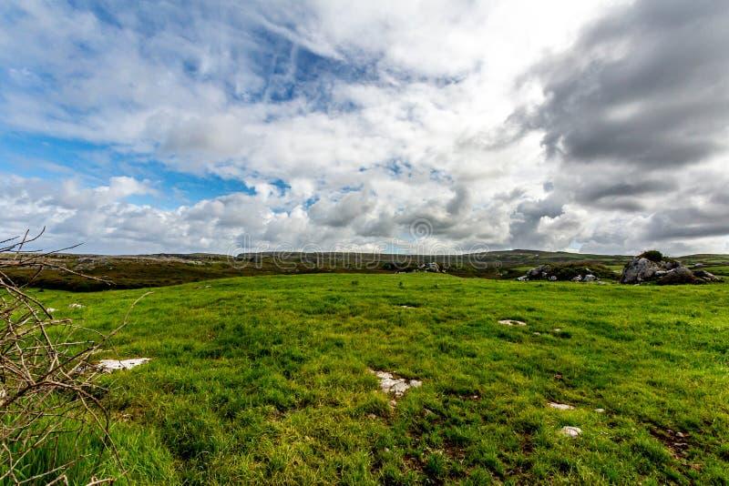 Vista de um vale no Burren com rochas da pedra calcária imagem de stock