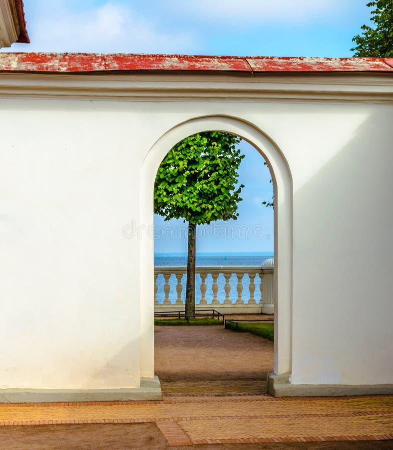 Vista de uma árvore solitária pelo mar através do arco de pedra imagem de stock