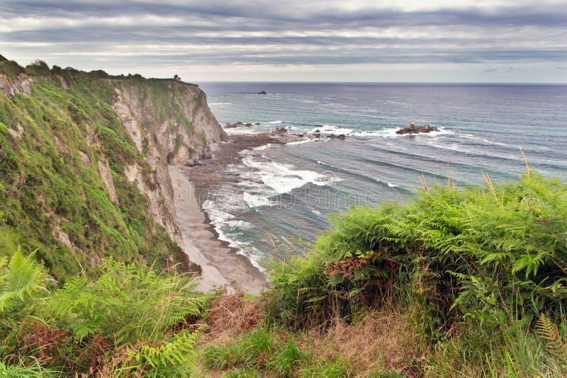 Vista de uma baía do mar com costa íngreme fotografia de stock