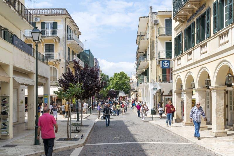 Vista de uma cidade bonita Kerkyra fotografia de stock royalty free