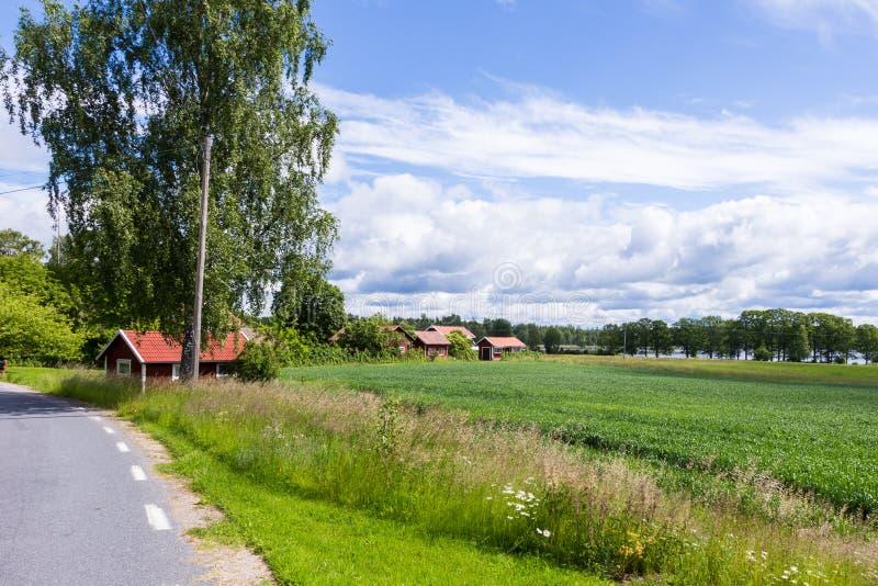 Vista de uma vila velha na Suécia imagens de stock