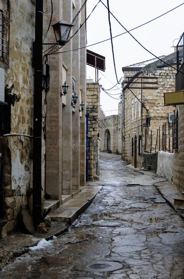 Vista de un callejón en Safed viejo imagen de archivo