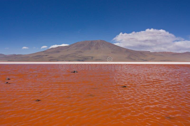 Vista de un volcán y de una laguna de Colorado en Bolivia imagen de archivo libre de regalías