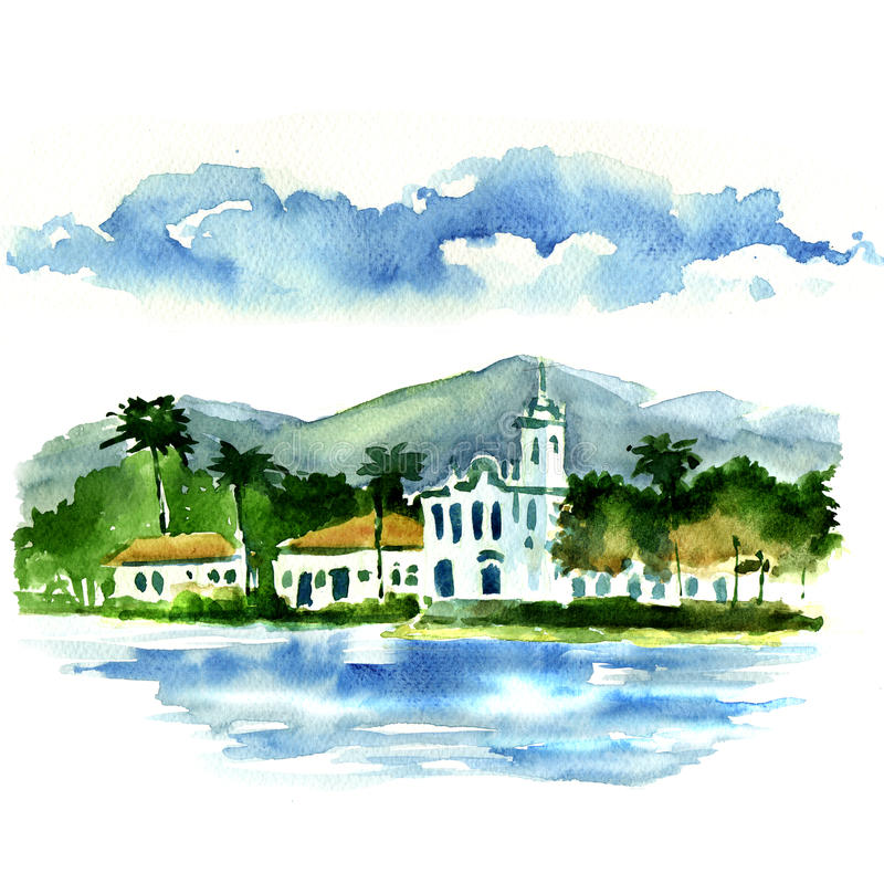 Vista de una pequeña ciudad por el mar libre illustration