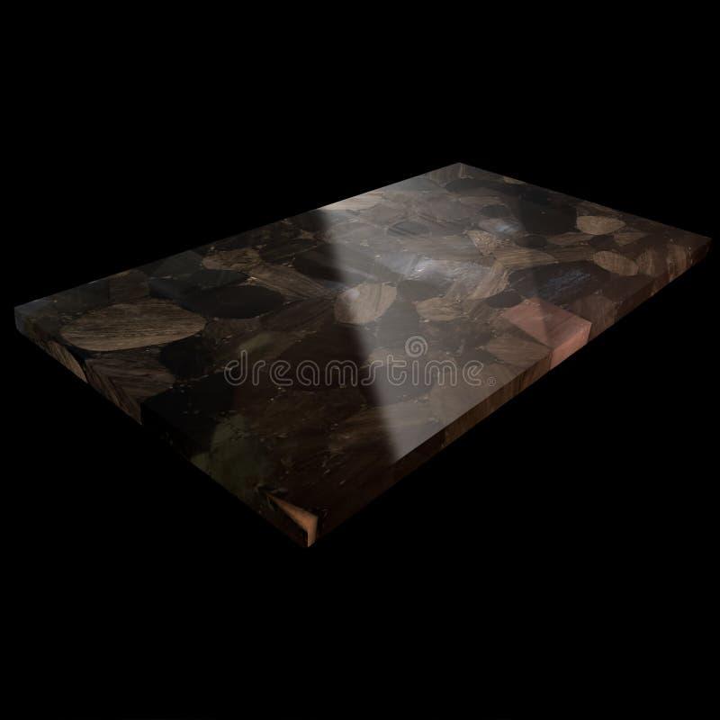 Vista de una placa de la obsidiana en un fondo negro foto de archivo libre de regalías