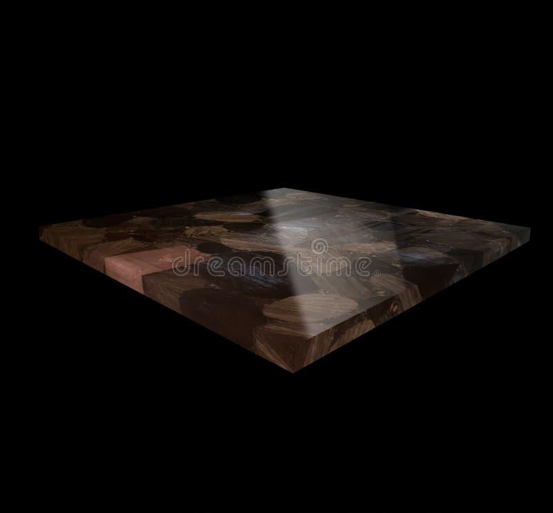 Vista de una placa de la obsidiana en un fondo negro fotos de archivo