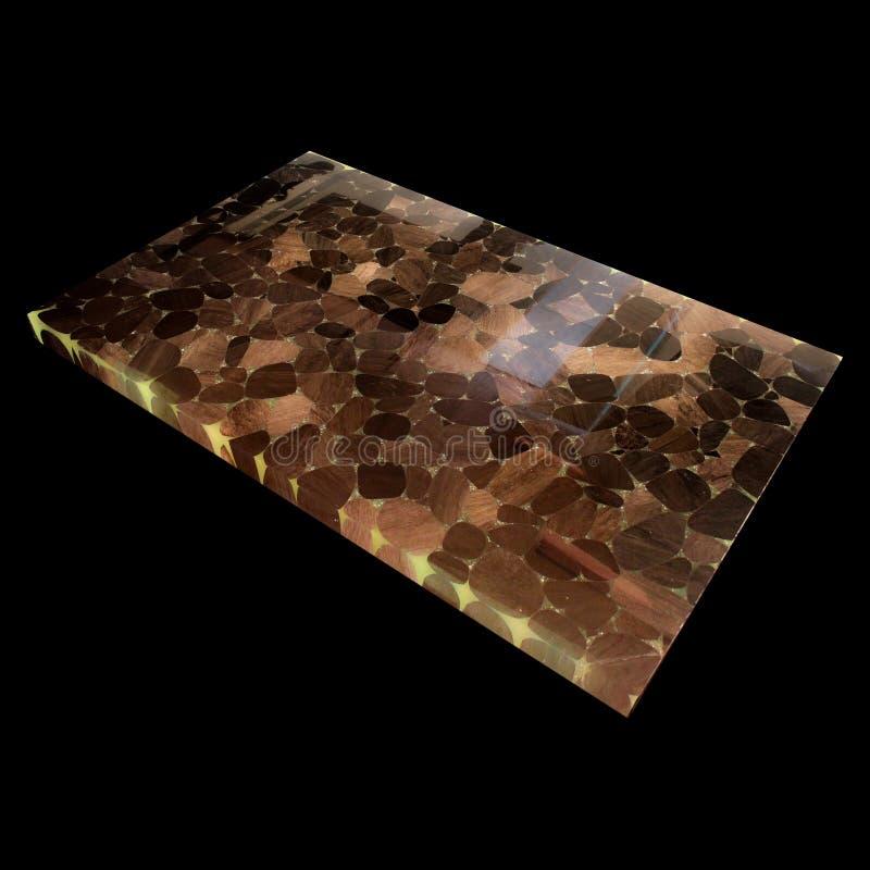 Vista de una placa de la obsidiana en un fondo negro fotografía de archivo