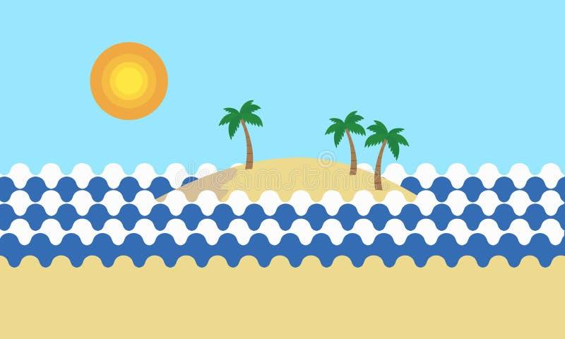 Download Vista De Una Playa Arenosa Tropical Con Las Palmeras Verdes En El Mar Ilustración del Vector - Ilustración de nube, seascape: 100533404