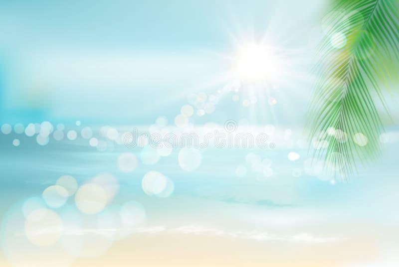 Vista de una playa tropical Ilustración del vector stock de ilustración
