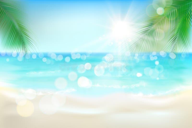 Vista de una playa tropical Ilustración del vector ilustración del vector