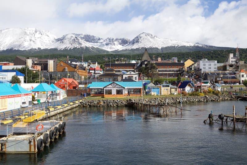 Vista de Ushuaia, a capital de Tierra del Fuego, Argentina imagem de stock