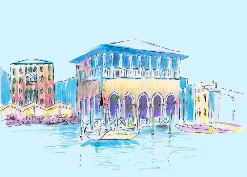Vista de Veneza, Italy Esboço desenhado mão Ilustração gráfica colorida Tiragem dos marcadores ilustração stock