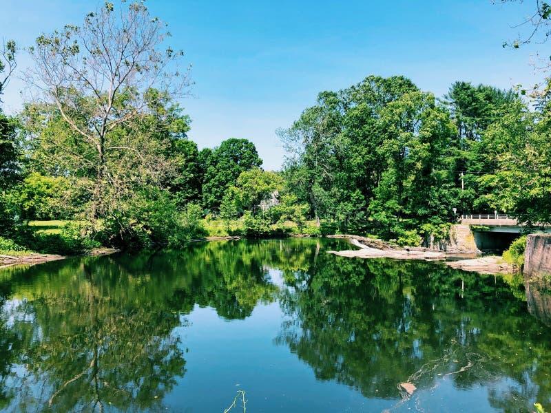 Vista de verão do rio Shepaug fotografia de stock