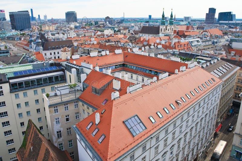 Vista de Viena con la catedral de St Stephen austria imagen de archivo libre de regalías