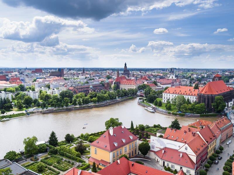 Vista de Wroclaw imagen de archivo