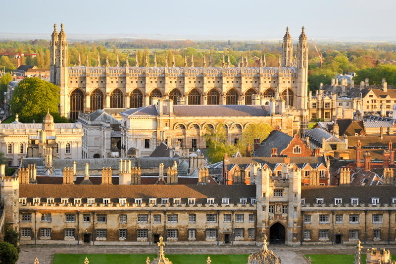 Vista degli istituti universitari di Cambridge fotografia stock