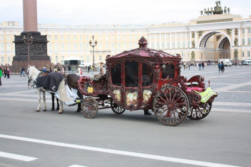 vista dei cavalli e del trasporto sul quadrato a Pietroburgo fotografia stock