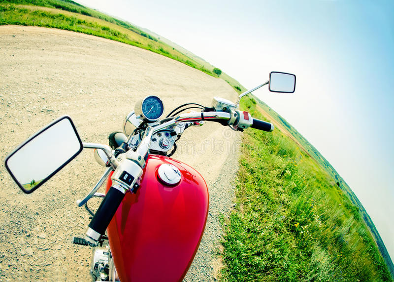 Vista dei driver della cabina di guida in un motociclo moderno fotografia stock libera da diritti