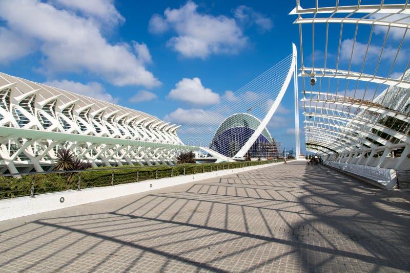 Vista dei les Ciències, Valencia, Spagna di Ciutat de les Arts i fotografia stock libera da diritti