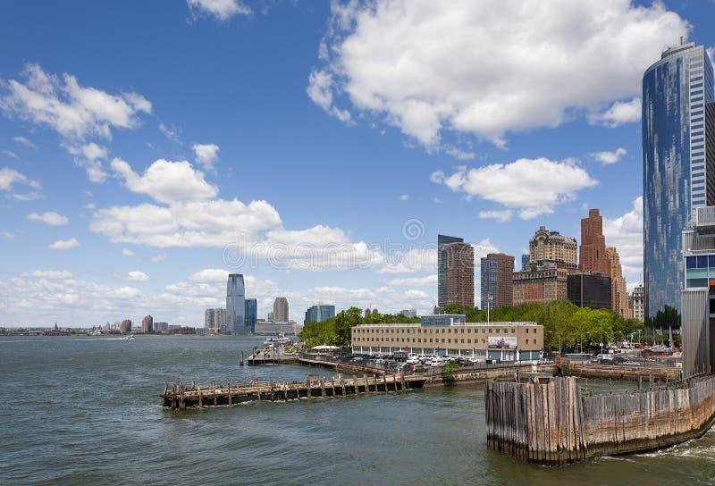 Vista del área del parque de batería en Manhattan, New York City imagenes de archivo
