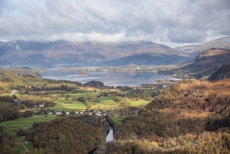 Vista del agua de Derwent en el distrito del lago foto de archivo libre de regalías