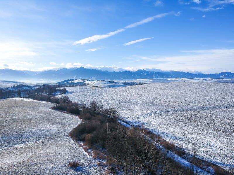 Vista del ariel del paese di inverno fotografie stock libere da diritti