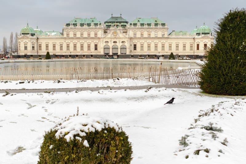 Vista del belvedere superior famoso de Schloss en invierno fotos de archivo