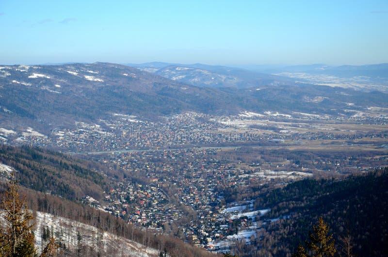 Vista del Bielsko-Biala in Polonia immagini stock