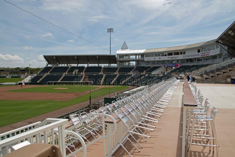 Vista del campo dalla terza base a Hammond Stadium fotografie stock libere da diritti