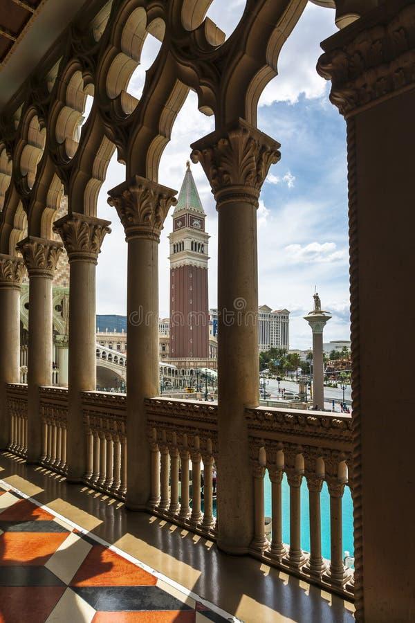 Vista del canal del hotel y del casino venecianos, la tira, Las Vegas Boulevard, Las Vegas, Nevada, los E.E.U.U., Norteamérica fotos de archivo