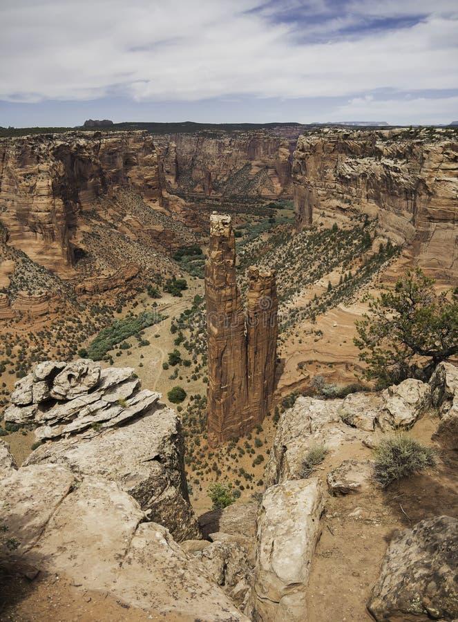 Vista del canyon di roccia di Chelly del ragno, Arizon fotografia stock libera da diritti