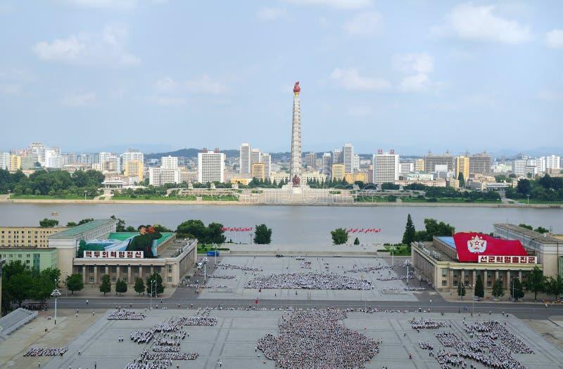 Vista del capitale del centro di Pyongyang la Corea del Nord fotografia stock libera da diritti