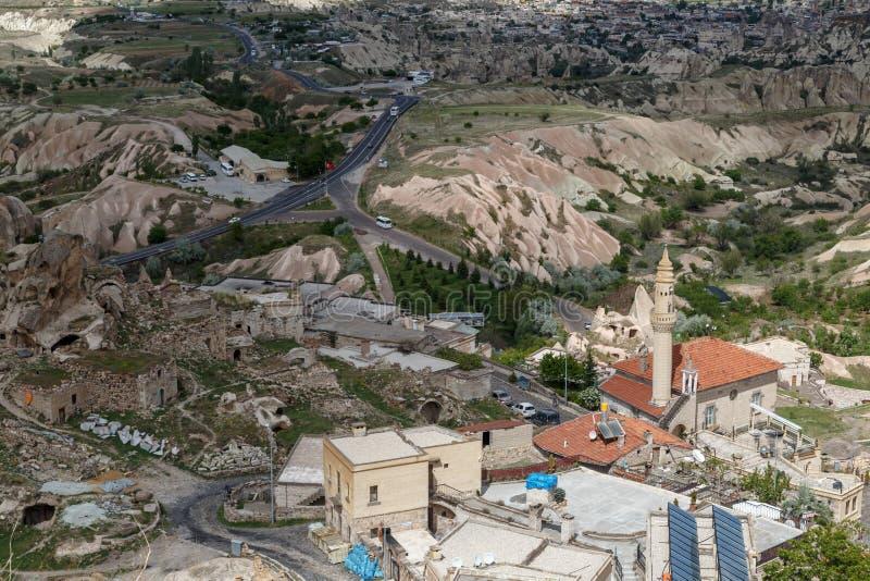 Vista del castello di Uchisar immagini stock libere da diritti