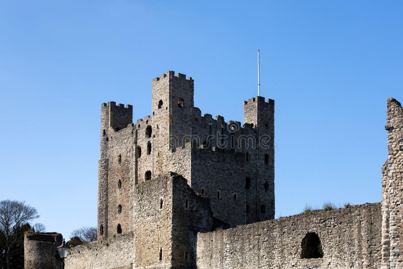 Vista del castello a Rochester il 24 marzo 2019 immagini stock libere da diritti