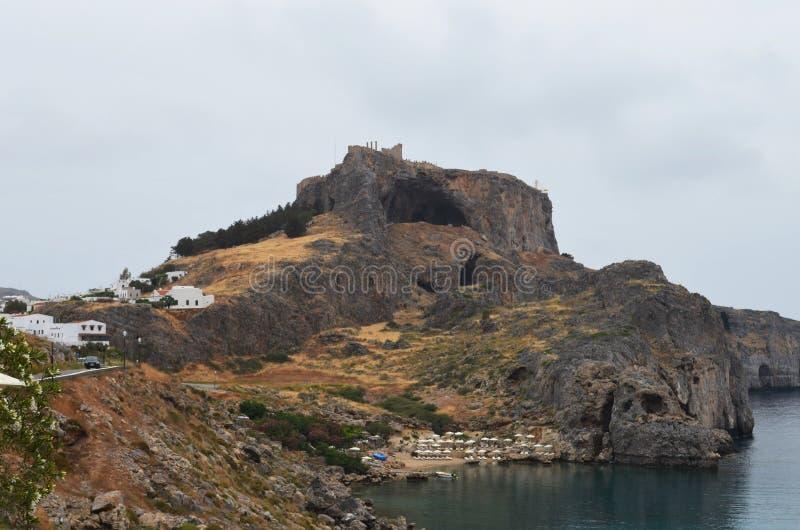 Vista del castello sull'isola greca di Rodi immagini stock