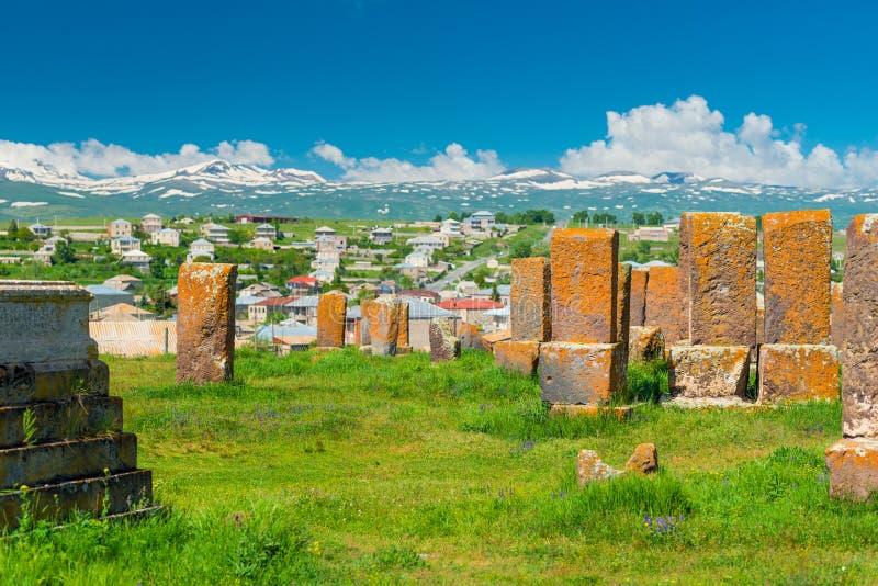 Vista del cementerio antiguo Noratus de Armenia fotos de archivo libres de regalías