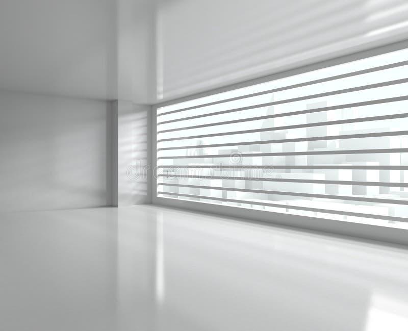 Vista del centro de la ciudad de la ventana ilustración del vector