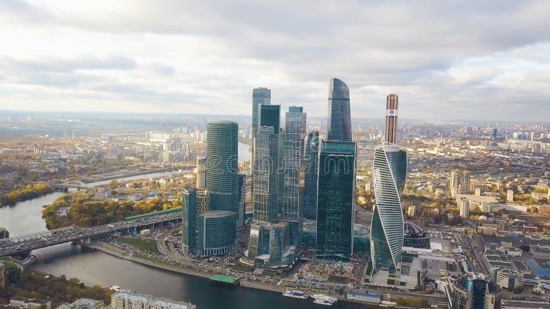 Vista del centro de negocios internacional Moscú, Rusia de Moscú de la Moskva-ciudad clip Vista superior del negocio magnífico fotos de archivo
