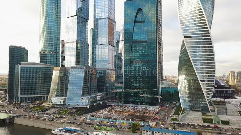 Vista del centro de negocios internacional Moscú, Rusia de Moscú de la Moskva-ciudad clip Vista superior del negocio magnífico fotografía de archivo libre de regalías
