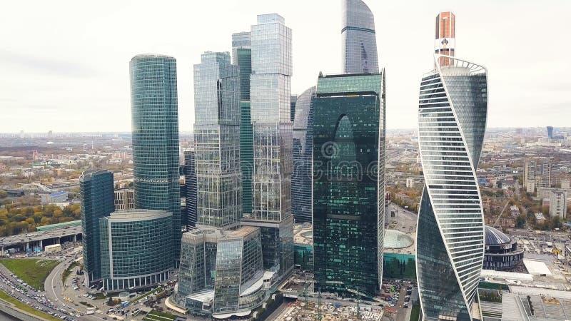 Vista del centro de negocios internacional Moscú, Rusia de Moscú de la Moskva-ciudad clip Vista superior del negocio magnífico imagen de archivo