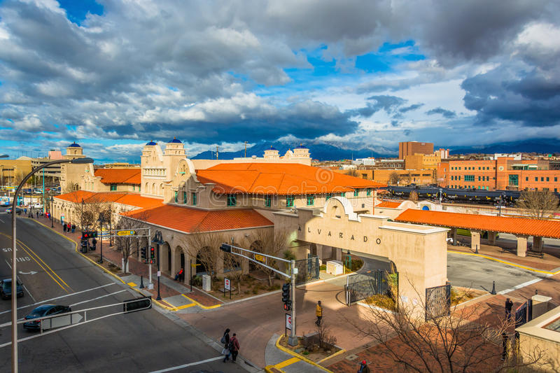 Vista del centro del trasporto di Alvarado, a Albuquerque, nuovo Mexi immagini stock libere da diritti