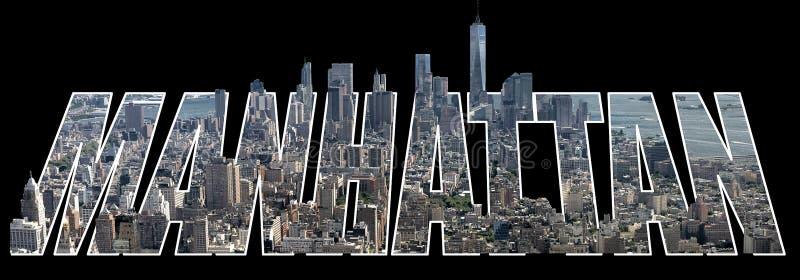 Vista del centro di Manhattan sulle lettere illustrazione di stock