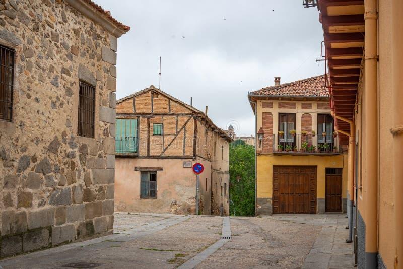 Vista del centro di Segovia, Spagna fotografie stock libere da diritti